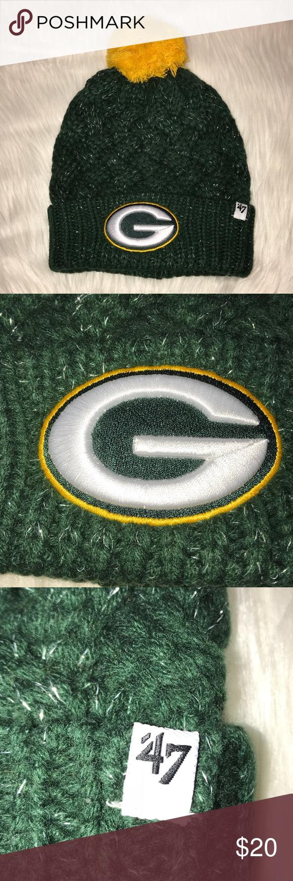 Womens Nfl Green Bay Packers Pom Pom Sock Hat Nwt Nfl Accessories Logo Knit Green Hats