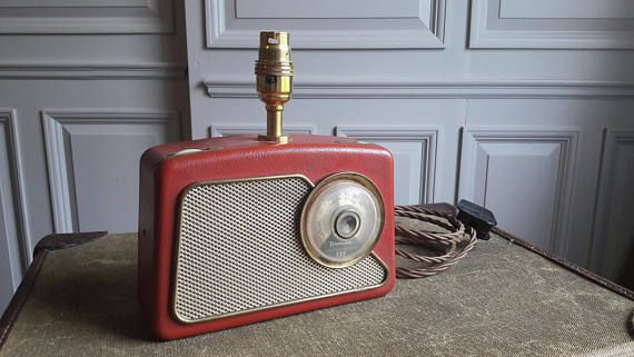 Upcycled Vintage Transistor Radio Lamp Unique Lamp Retro 1950s Upcycled Vintage Unique Lamps Industrial Style Table