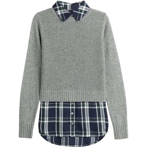 Veronica Beard Mohawk Shirt and Pullover Combo (480 BRL) ❤ liked on Polyvore featuring tops, sweaters, shirts, grey, checkered top, button front top, grey pullover, checkered shirt and pullover shirt