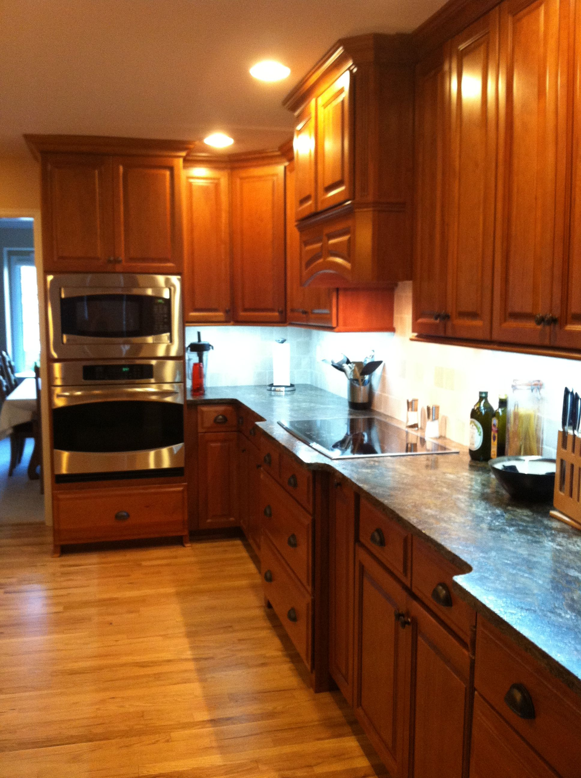 Cherry Cabinets With Black Pulls Cherry Cabinets Kitchen Kitchen Cabinets Cherry Cabinets