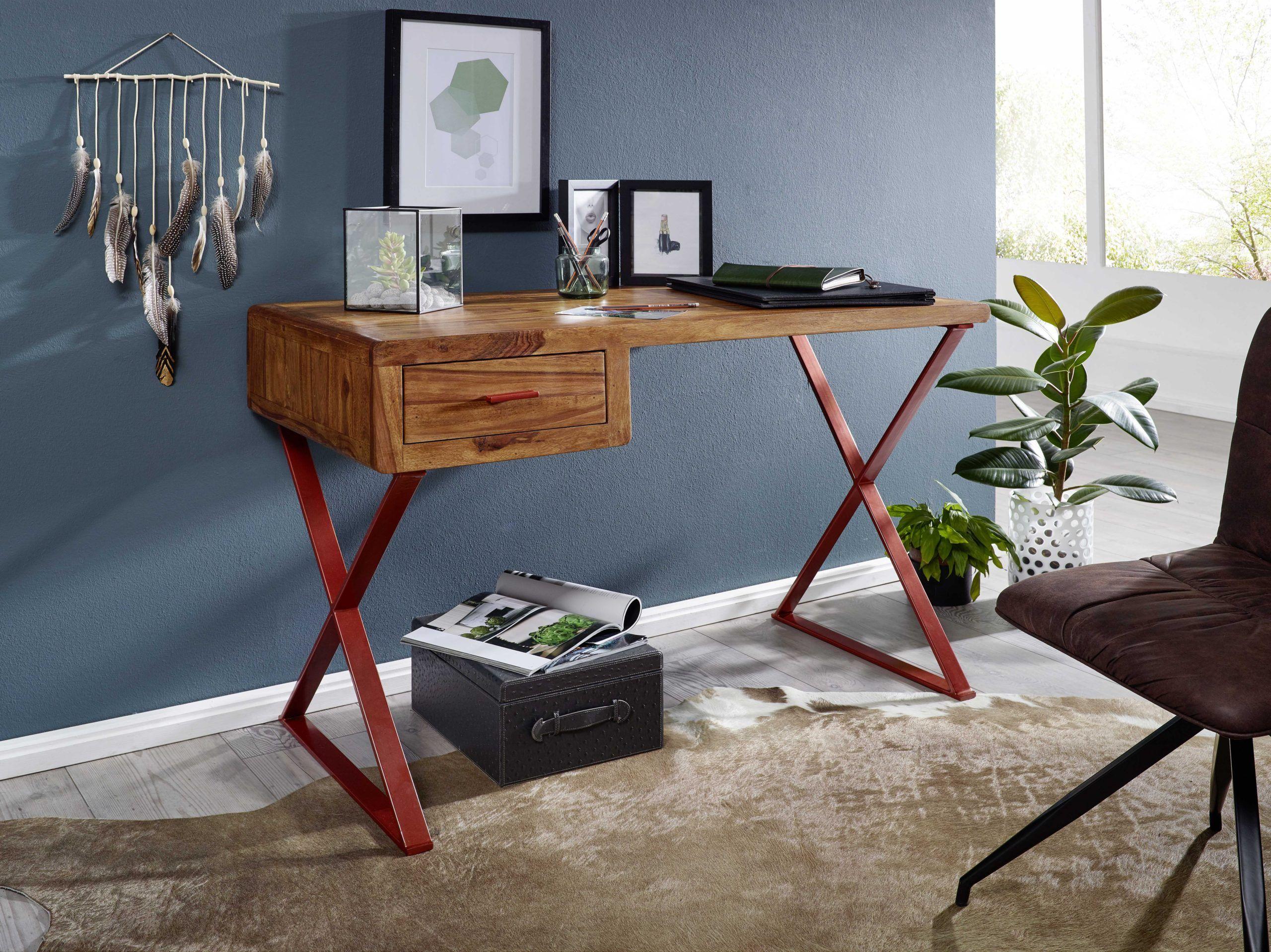 Wohnling Schreibtisch 118 Cm Wl5 671 Aus Sheesham Massivholz Und