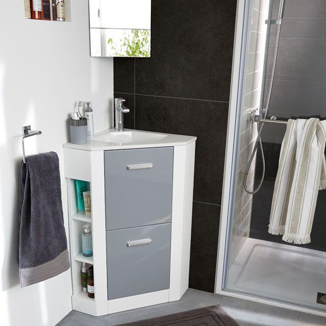 Meuble De Salle De Bains D Angle Gris Waneta Castorama Locker Storage Tiny House Interior Bathroom Design
