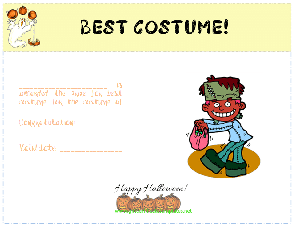 Best costume award certificate template certificate of best costume award certificate template yadclub Images