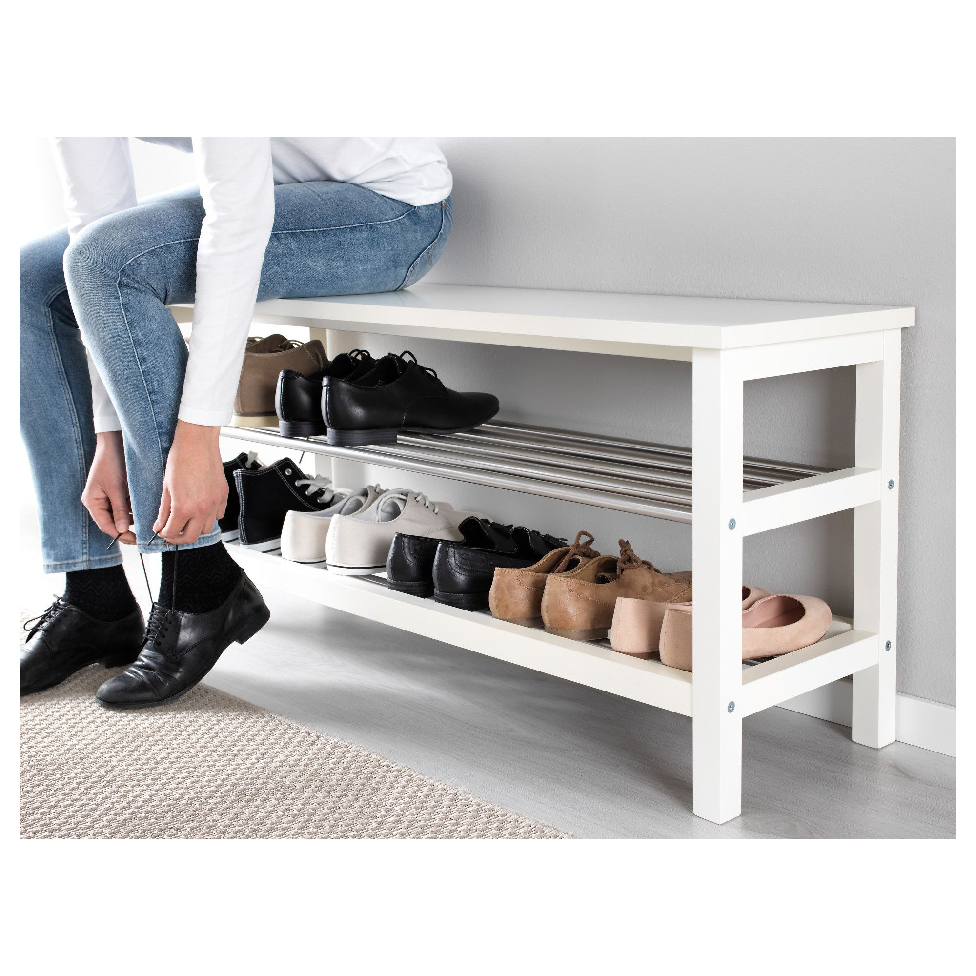 Ikea Tjusig Bench With Shoe Storage White In 2019