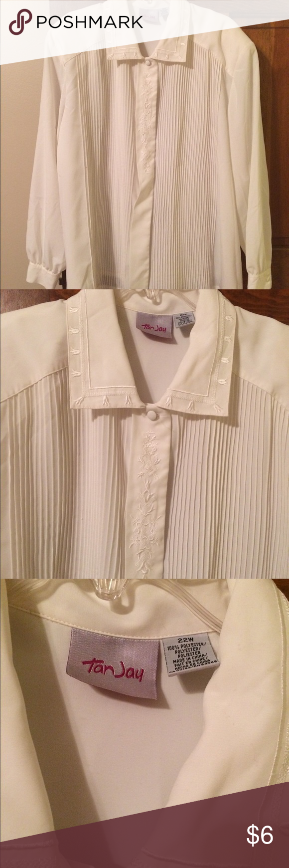 Cream long sleeve blouse size 22W Long sleeved cream colored dress blouse with embroidered designs down the front and collar. Hidden buttons down the front. Pleats run down the front. Buttons on the cuffs. tan jay Tops Blouses