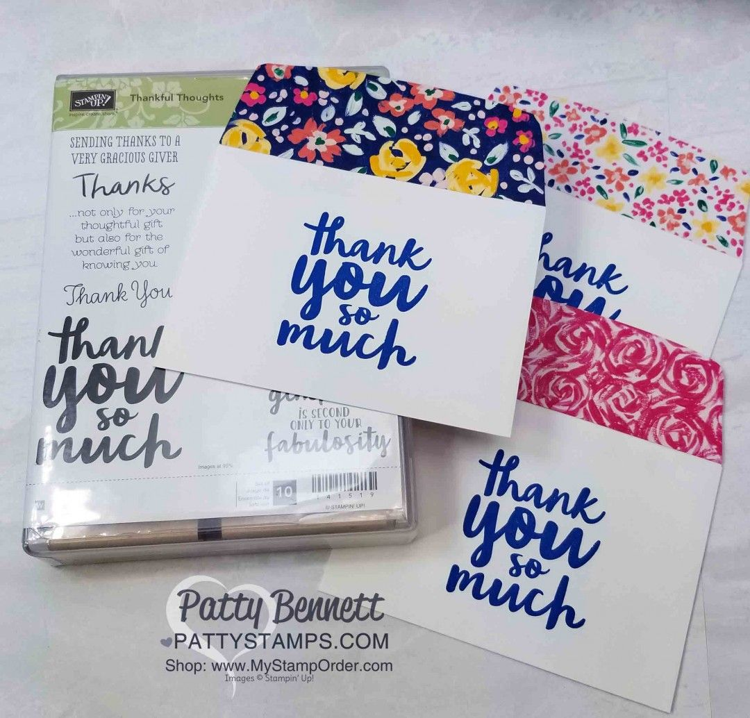 Garden impressions thank you cards for onstage patty