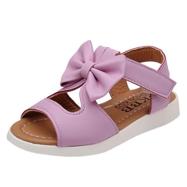 UK Baby Girl Infant Princess Bow Sandals Flat Heels Toddler Summer Shoes Size