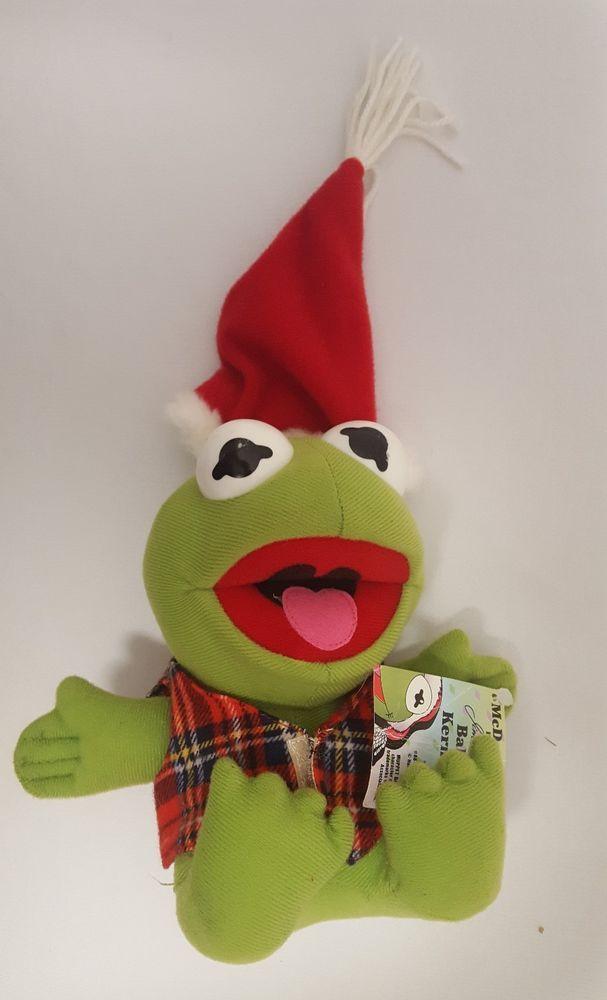 1987 Vintage Muppets Baby Kermit Christmas Santa Plush Doll Toy ...
