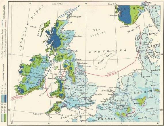 Map Of Europe 1950s.British Isles And North Sea Climate Map 1950s Travel Adventure Maps