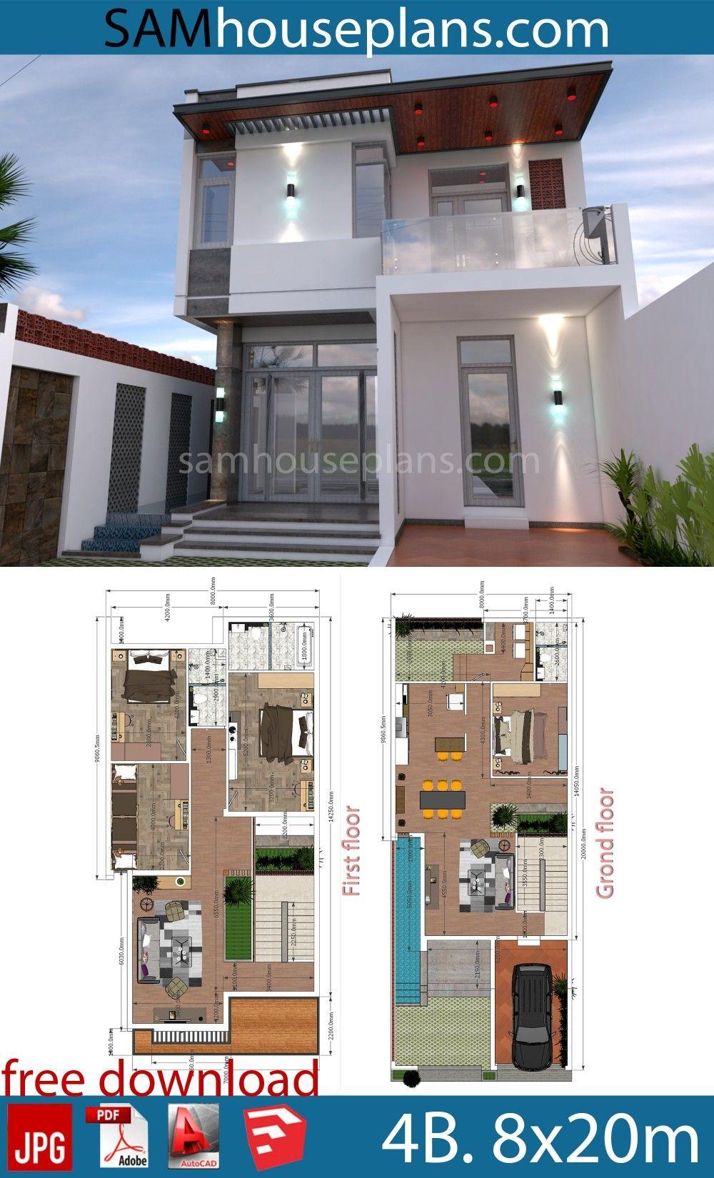 Plans De Maison 8x20m Avec Plan Complet 4 Lits Duplex House Design Architectural House Plans Two Story House Design