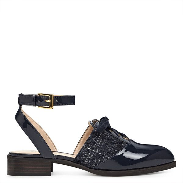 Nine West Nimah Ankle Strap Brogues (945.915 IDR) ❤ liked on Polyvore featuring shoes, oxfords, laced up shoes, lace up shoes, nine west shoes, nine west oxfords and balmoral shoes