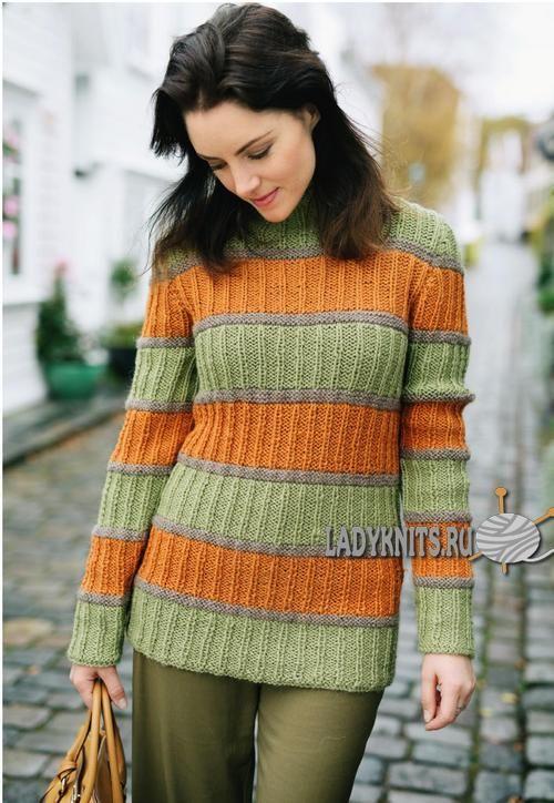 вязаный спицами полосатый женский свитер простое вязание вязание
