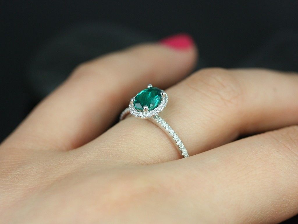 CONTENDER (repeat) Just another shot of the White Gold Oval Emerald and  Diamond in