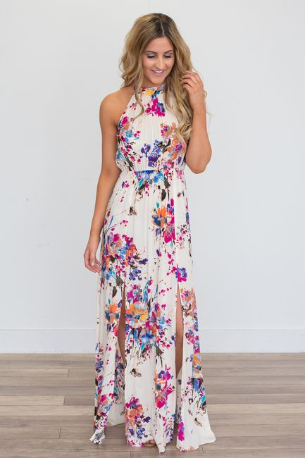 d336328b5754 Shop our Gardenia Floral Print Maxi Dress - Ivory Multi. Featuring an  elastic waistline and halter tie neck. Free shipping on all US orders! Little  Mistress ...
