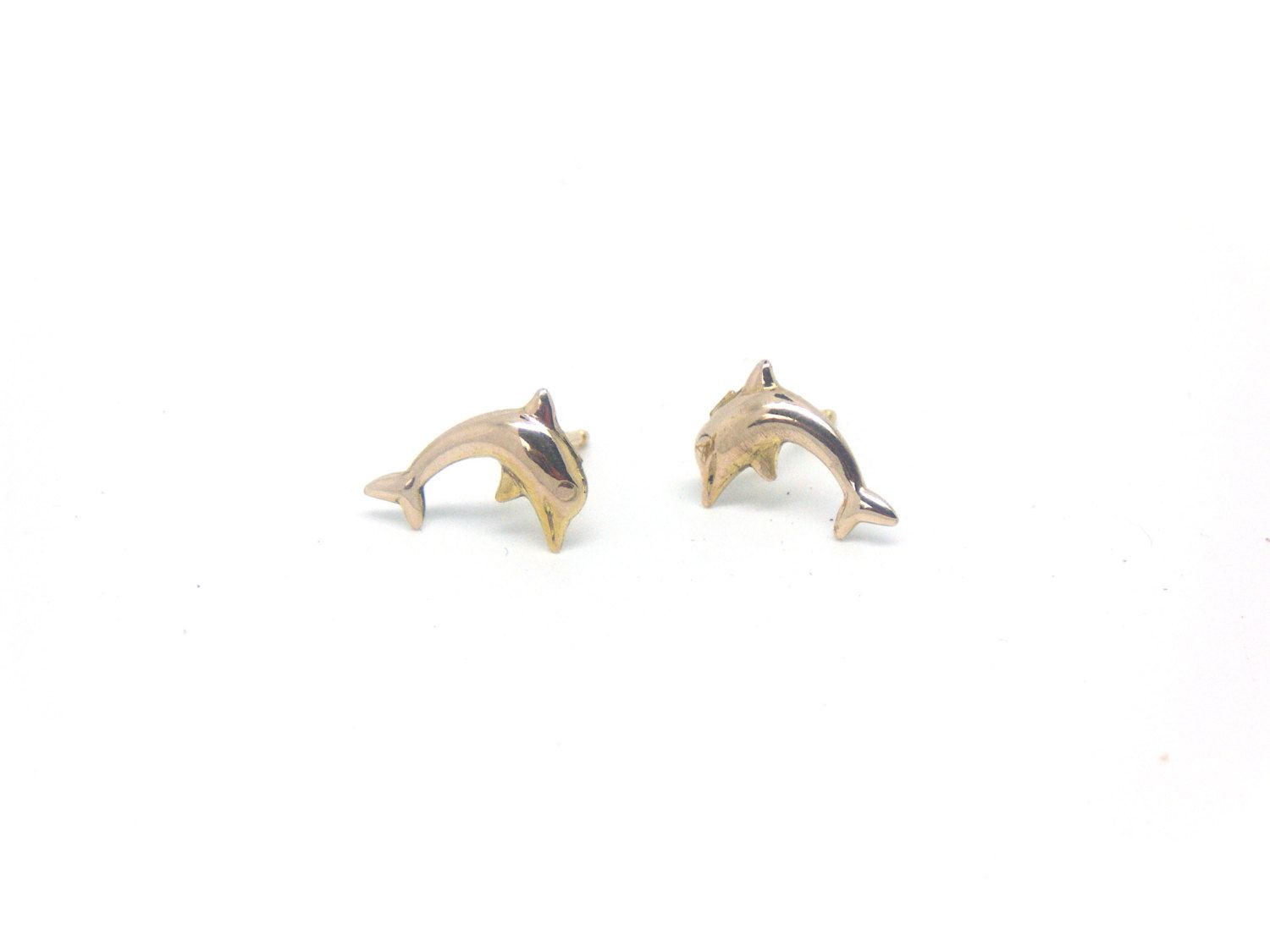 Dolphin earrings  14k gold studs  Gold dolphin earrings  Minimalist jewelry  Yellow gold dolphins  Nautical jewelry  Gift for her (59.00 GBP) by OhJewelery