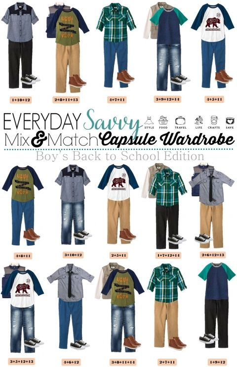 31c0a42e7 Back School Shopping is easy with these boys mix and match outfits for  school. 15 Mix and Match outfits that are perfect for school.