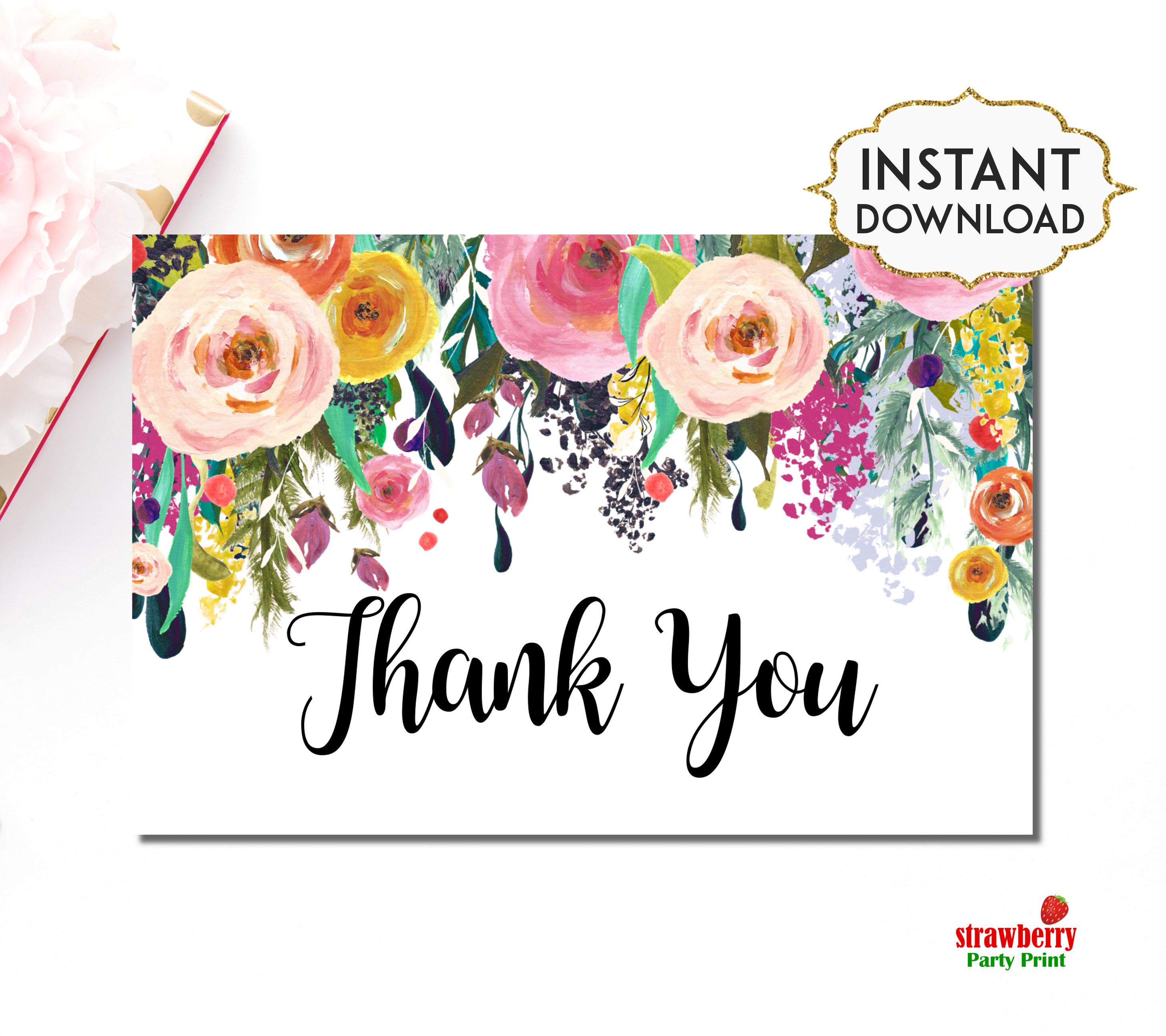 Floral Thank You Card Template, Printable Thank You Card