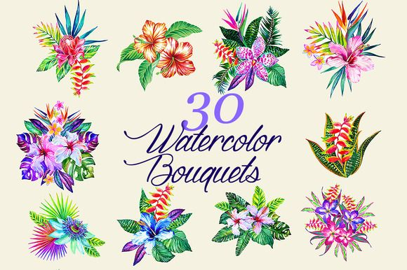Posted by @newkoko2020 Watercolor Bouquets by RosaPompelmo on @creativemarket
