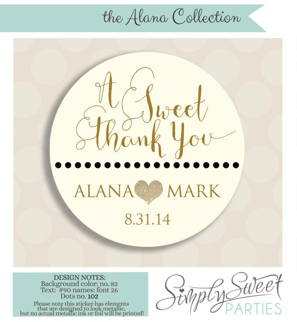 A+Sweet+Thank+You+wedding+favor+sticker | Quince | Pinterest | Gold
