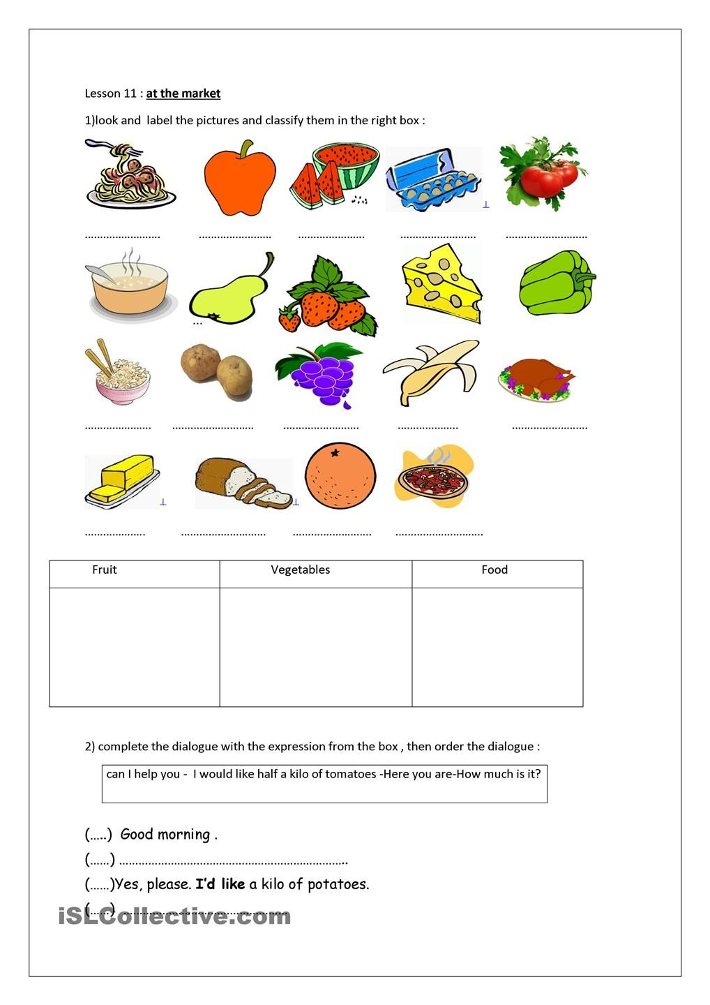 at the market | English lessons | Pinterest