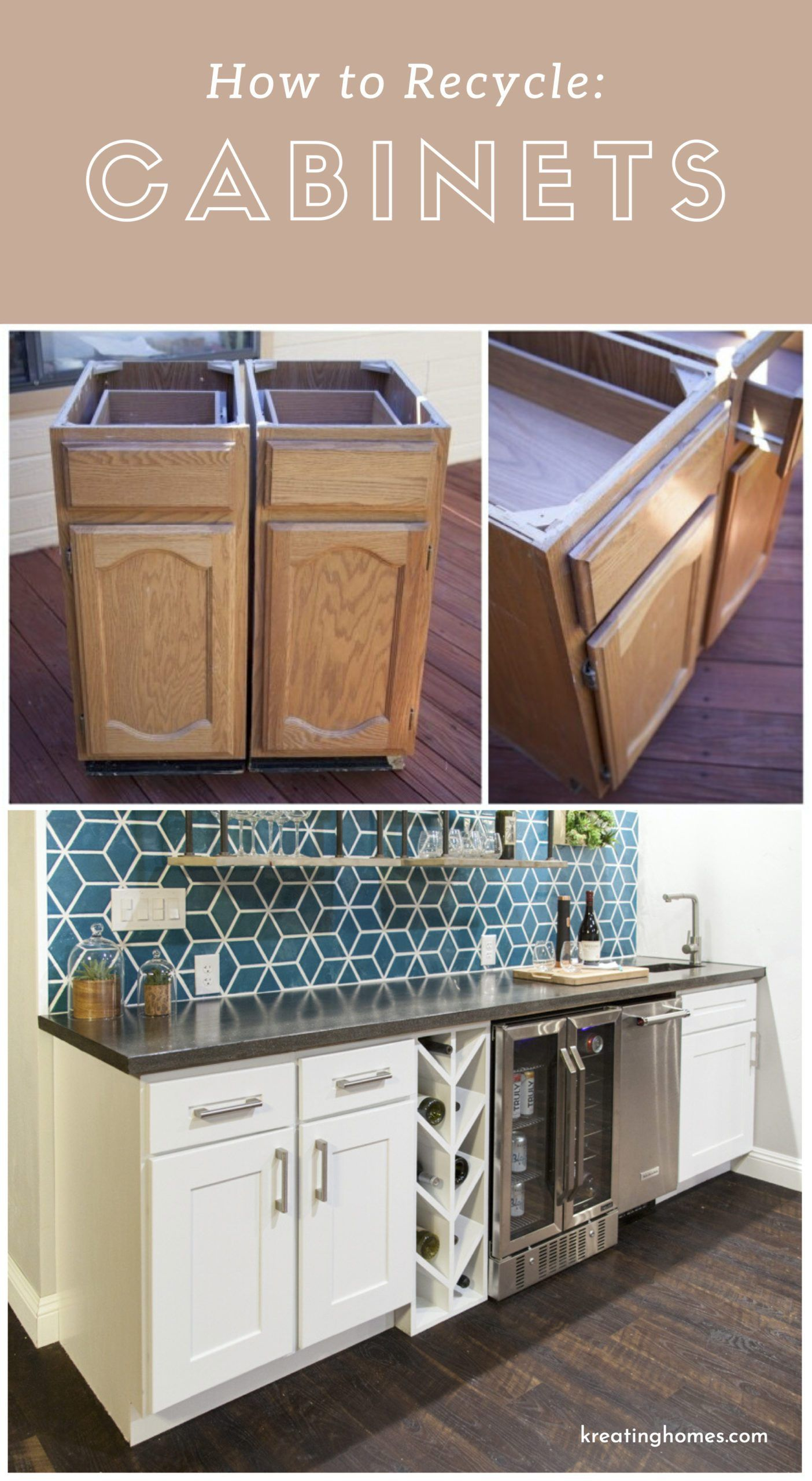 Recycled Kitchen Cabinets Kreating Homes In 2020 Recycled Kitchen Diy Kitchen Renovation Repurposed Kitchen