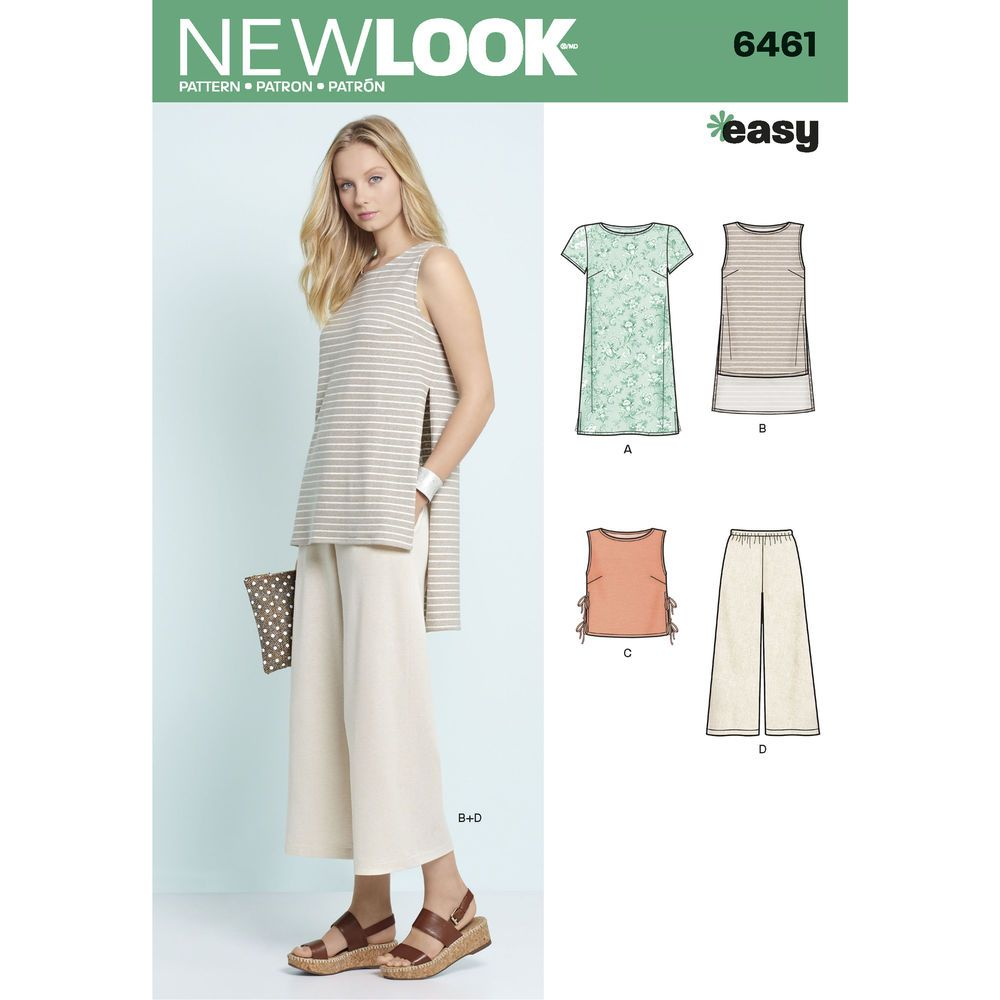 6461 Misses' Dress, Tunic, Top and Cropped Pants Pants