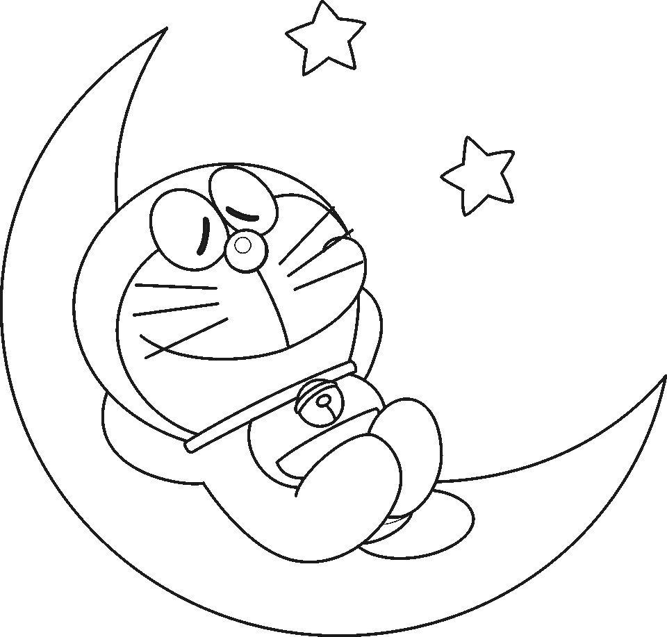 disegni da colorare doraemon dorme sulla luna per bambini