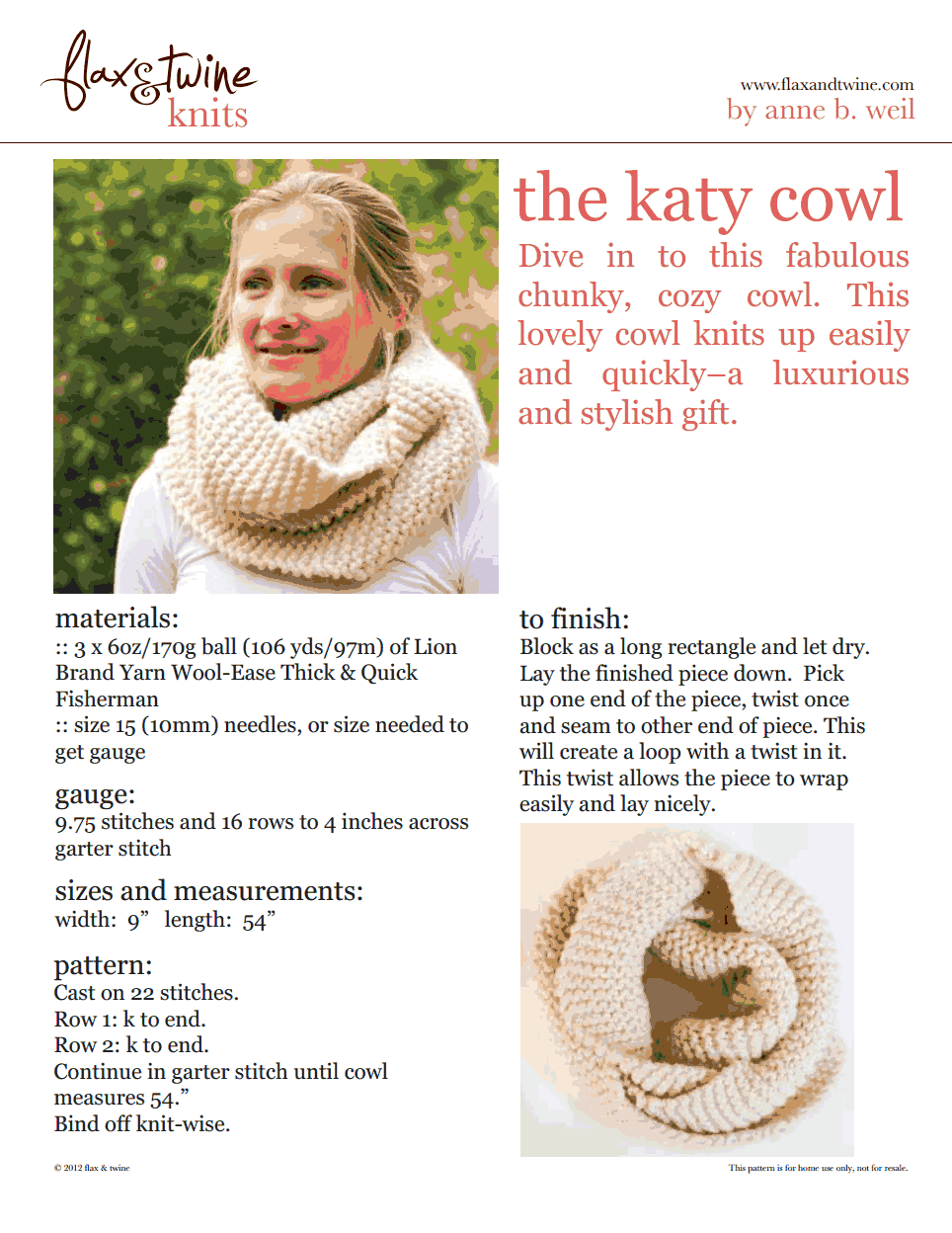 katy cowl.pdf | Easy knitting patterns | Pinterest