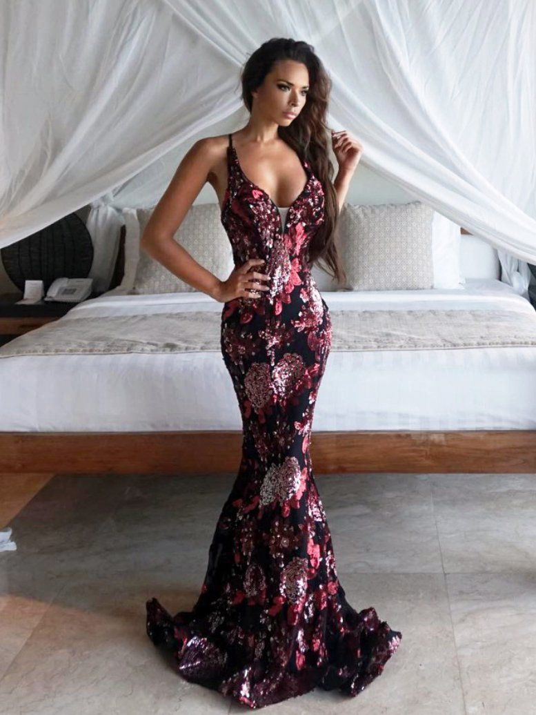 Mermaid prom dress spaghetti straps sequins floral long prom dresses