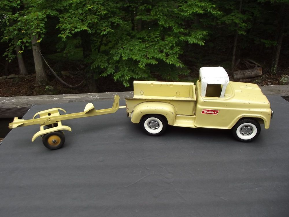 buddy l step side pick up truck with boat trailer rare 1960 u0026 39 s pressed steel toy