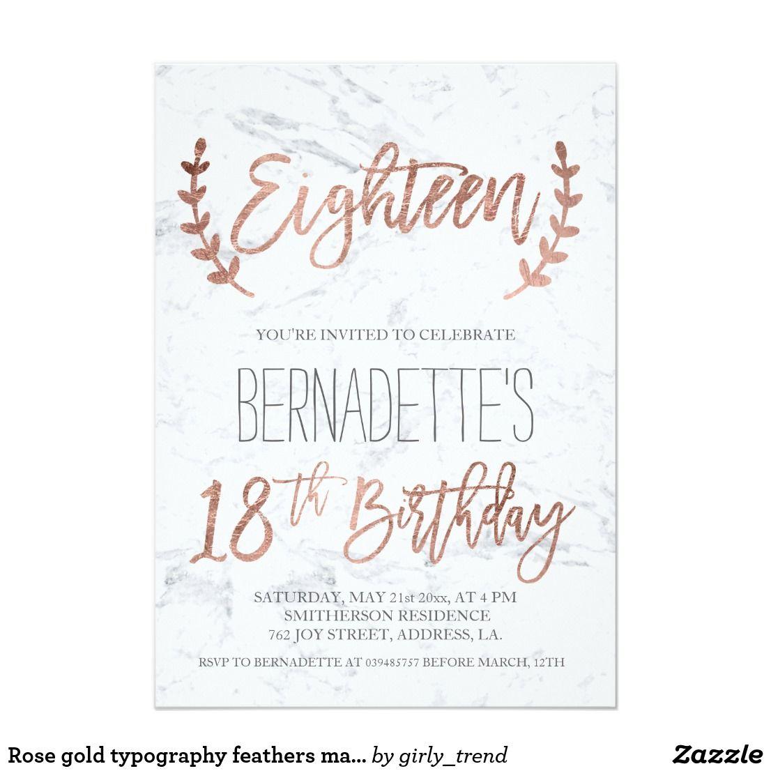 Invitation La Typographie Rose D Or Fait Varier Le Pas Du Zazzle Fr En 2020 Carte Invitation Anniversaire 18ans Invitation Anniversaire 18ans Et Invitation Anniversaire