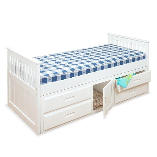 Captains Storage Bed In White With 4 Drawers And 1 Door | Storage ...