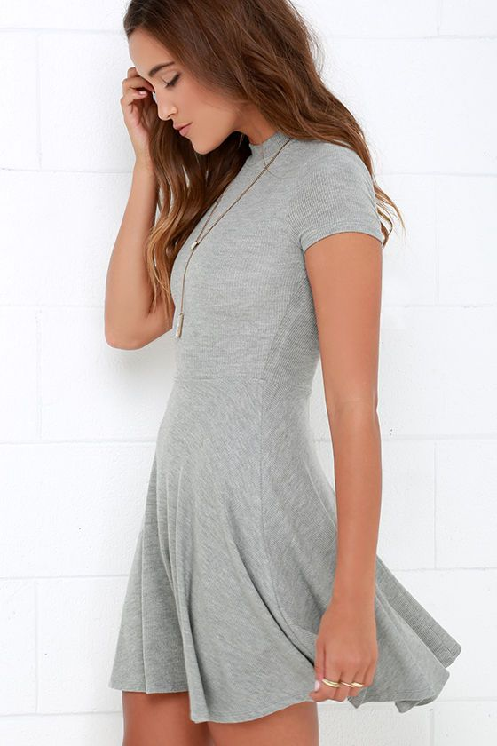 eff0c1f6d06 Endless Entertainment Grey Short Sleeve Skater Dress at Lulus.com!