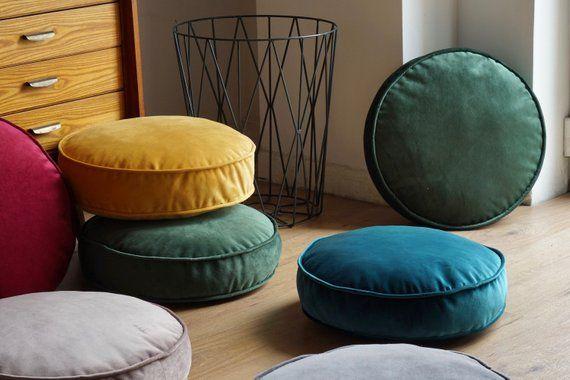 Velvet Pouf Velvet Floor Pillow Kids Floor Pillow Round Floor
