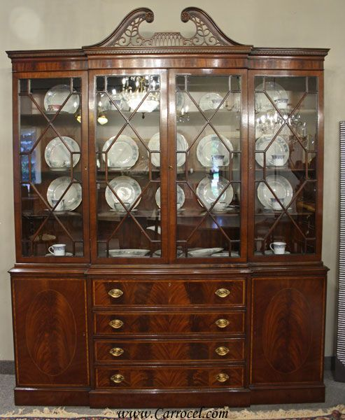 Antique Breakfront Crotch Mahogany China Cabinet Hutch | China ...