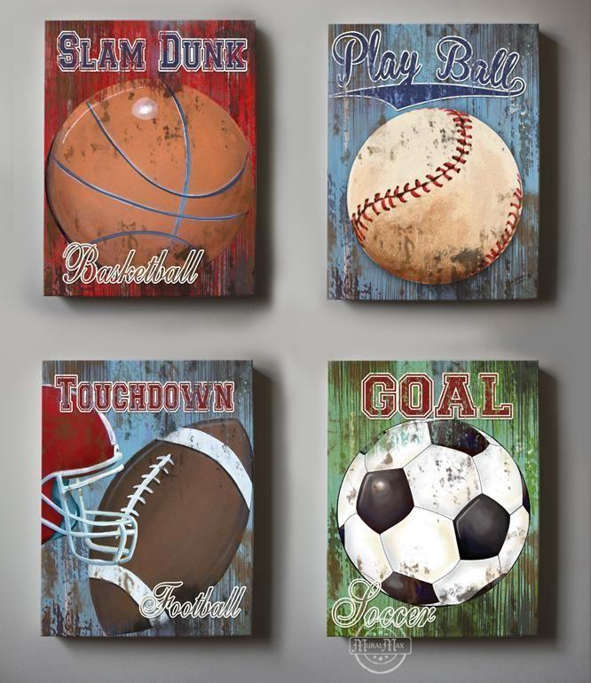 Vintage Sports Wall Decor Baseball Football