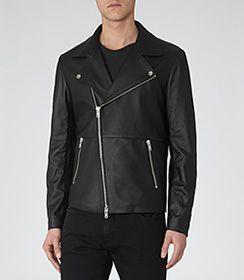 Montebello Black Leather Jacket - REISS