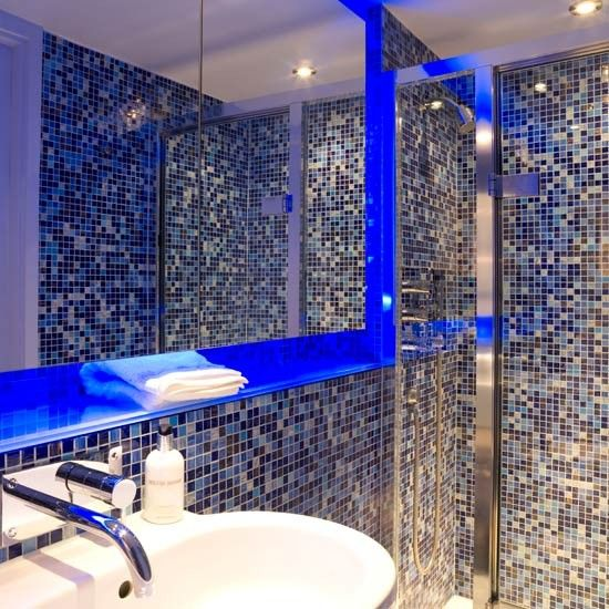 as a reaction to the utilitarian look darker jewel colours such as ruby - Bathroom Tile Ideas Colour