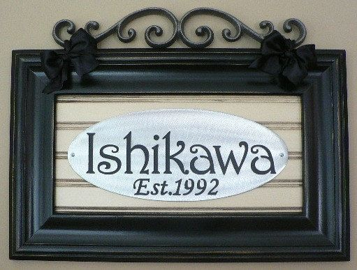 Custom Personalized name plaque in frame/beadboard backing/filigree ...