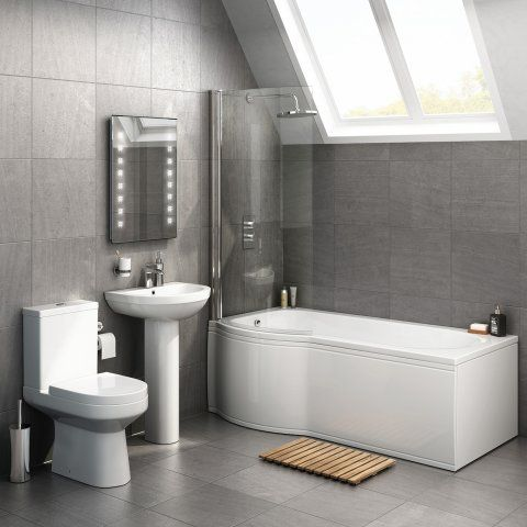 1700x850mm cesar p shaped left handed shower bath suite