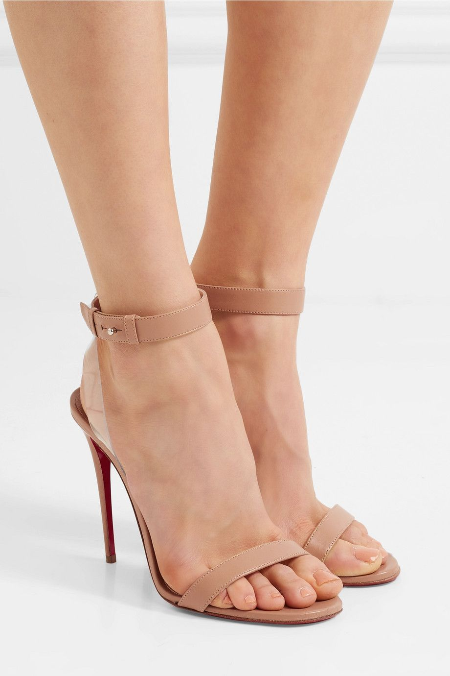 555eef028aab Christian Louboutin - Jonatina 100 PVC-trimmed leather sandals ...