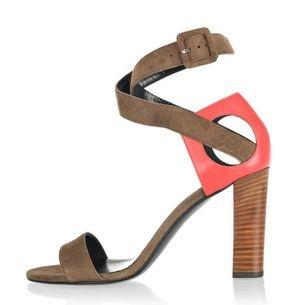 Sandálias da moda 2013 mulheres couro genuíno de chocolate bloco decoração grosso calcanhar aberto toe gladiador sapato de salto alto $29,50