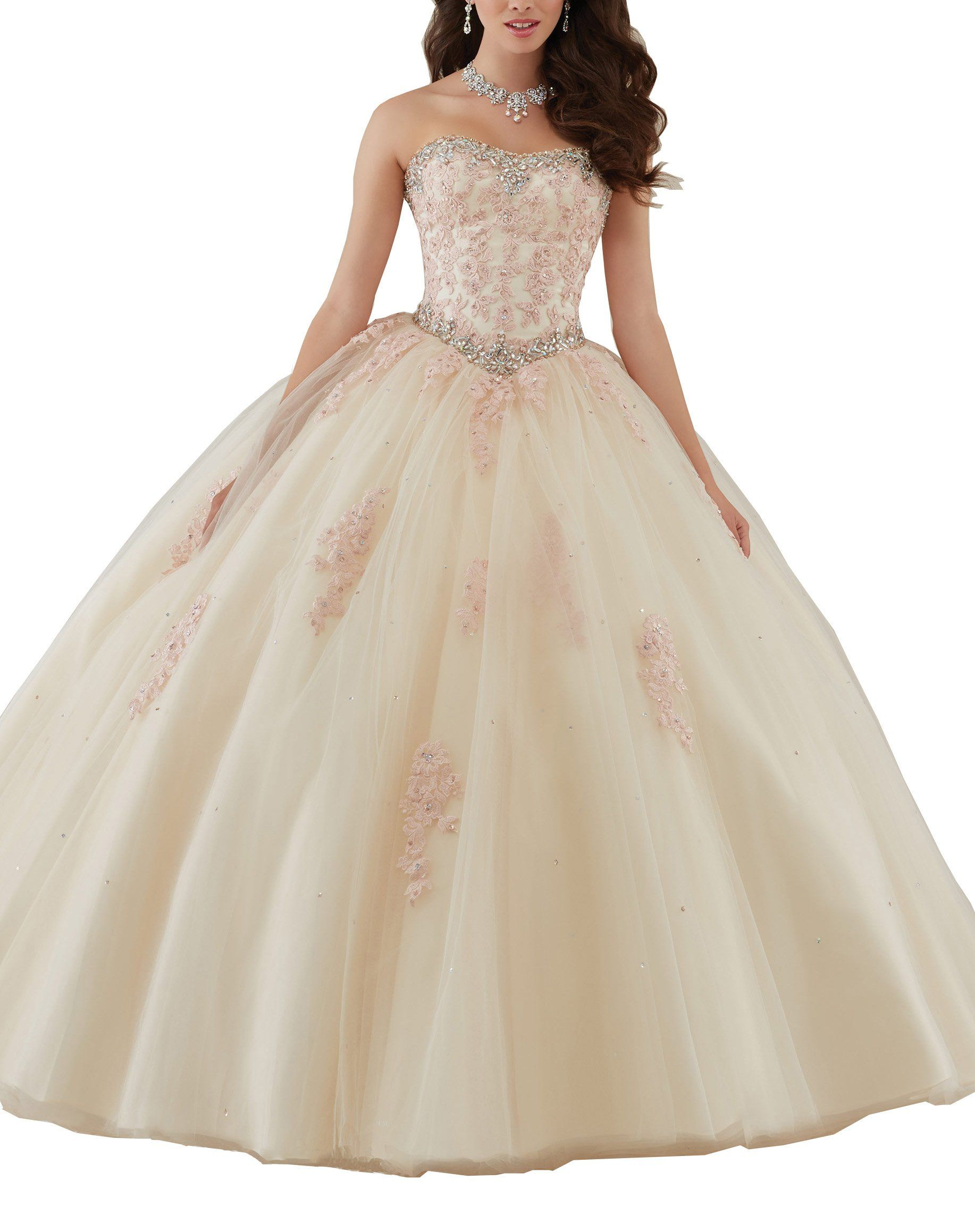 c825e3b2806f8 Datangep Womens Champagne Beaded Laceup Floor Length Ball Gown Pageang Gown  for Special Occasion US4     Read more reviews of the product by visiting  the ...