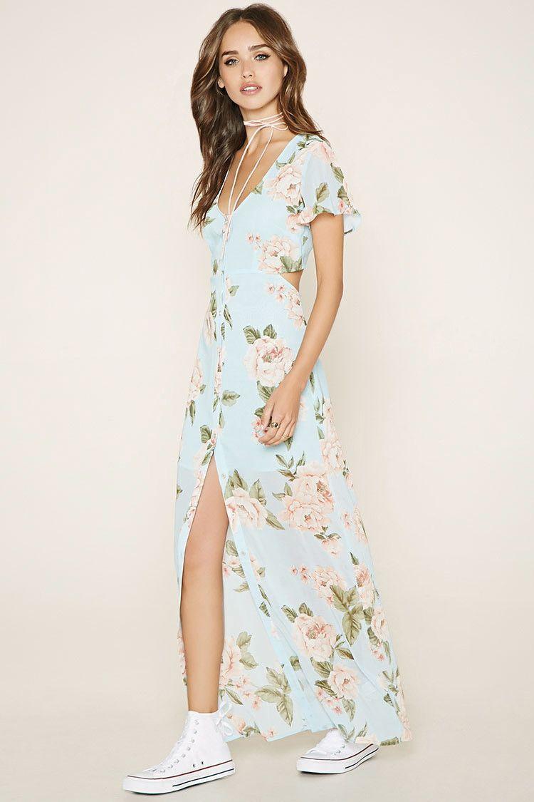 6878452ddcd Floral Cutout Maxi Dress