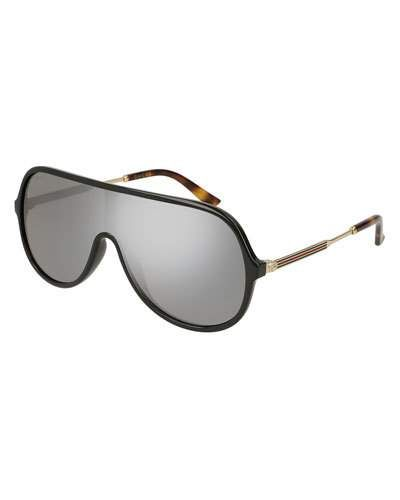 93371090398 N55QU Gucci Injected Metal Mirrored Aviator Sunglasses
