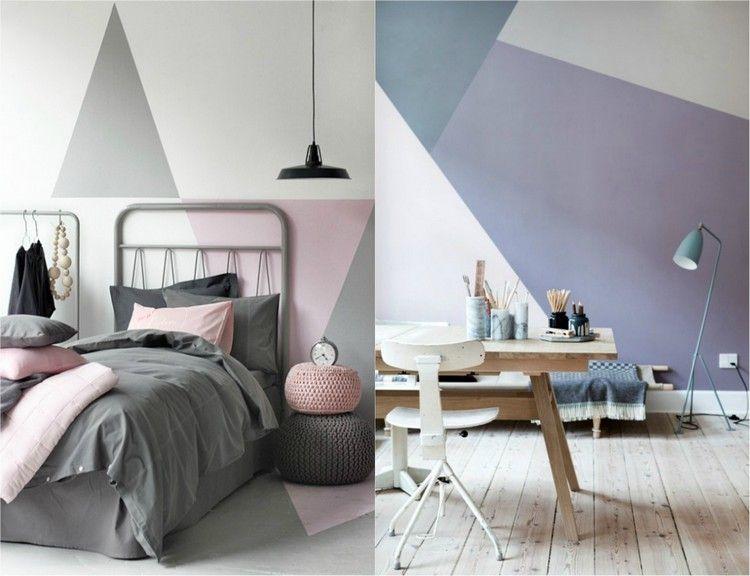 Wandgestaltung Ideen Für Wohn  Und Schlafzimmer Wandgestaltung Dreiecke,  Wand Streichen Muster, Wände Streichen