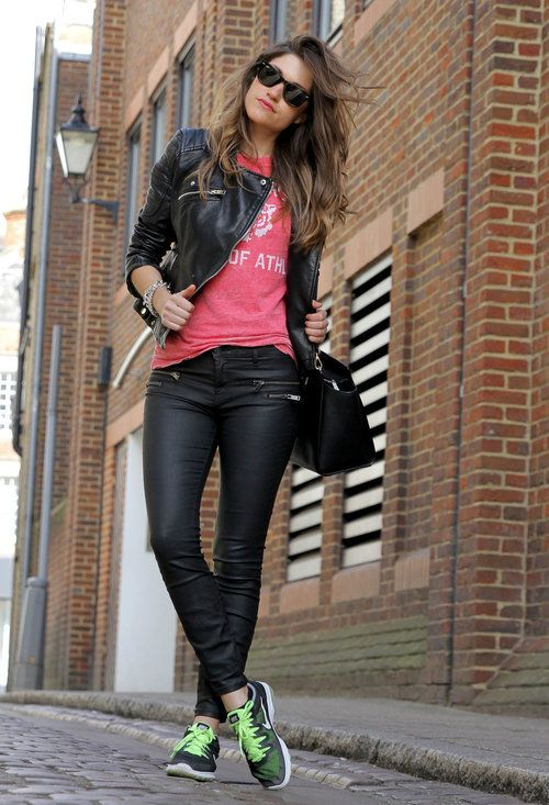 leather pants + sneakers