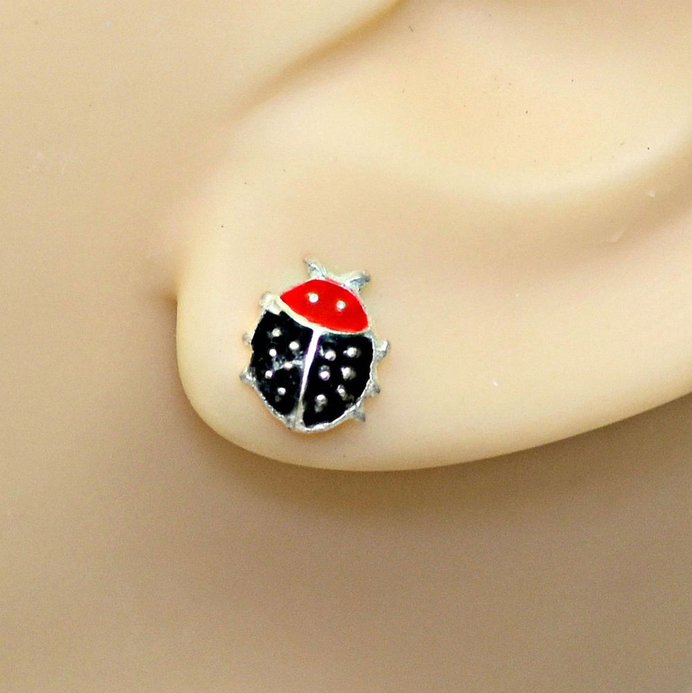 5bb59cd43 CLOSEOUT SALE LADYBUG 925 Sterling Silver Ear Studs Earrings #Silverado # Stud