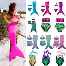 Cute Kids Girl Swimmable Mermaid Tail Bikini Set Swimsuit Swimming Fancy Costume  sc 1 st  Pinterest & Cute Kids Girls Swimmable Mermaid Tail Party Costume Bra Bikini ...