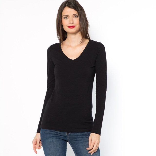 Long-Sleeved V-Neck Stretch Cotton T-Shirt